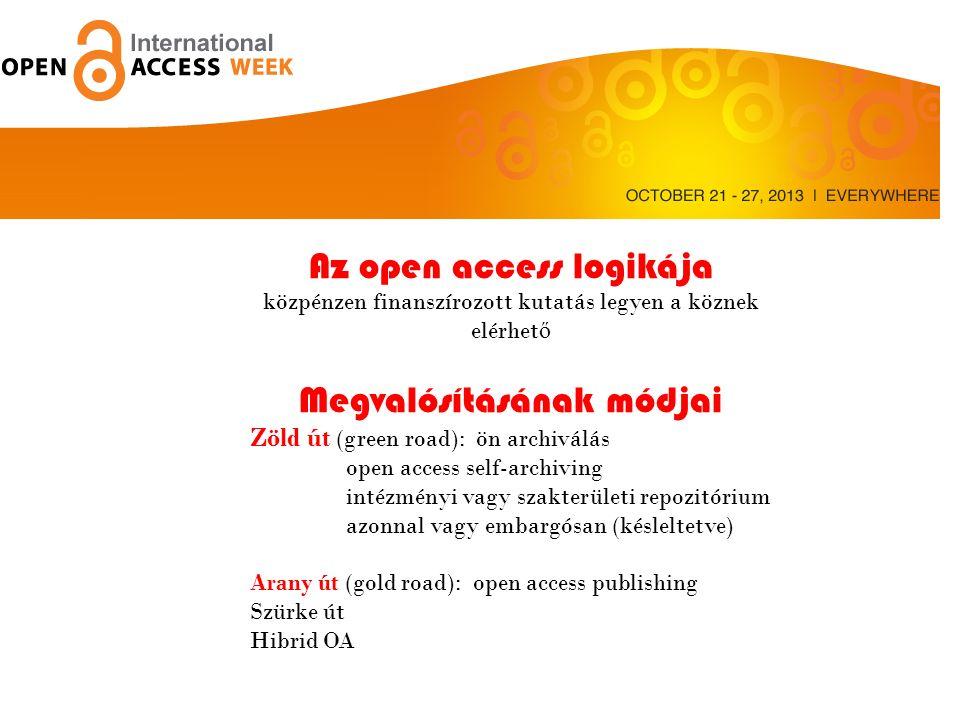 Az open access logikája közpénzen finanszírozott kutatás legyen a köznek elérhet ő Megvalósításának módjai Zöld út (green road): ön archiválás open access self-archiving intézményi vagy szakterületi repozitórium azonnal vagy embargósan (késleltetve) Arany út (gold road): open access publishing Szürke út Hibrid OA