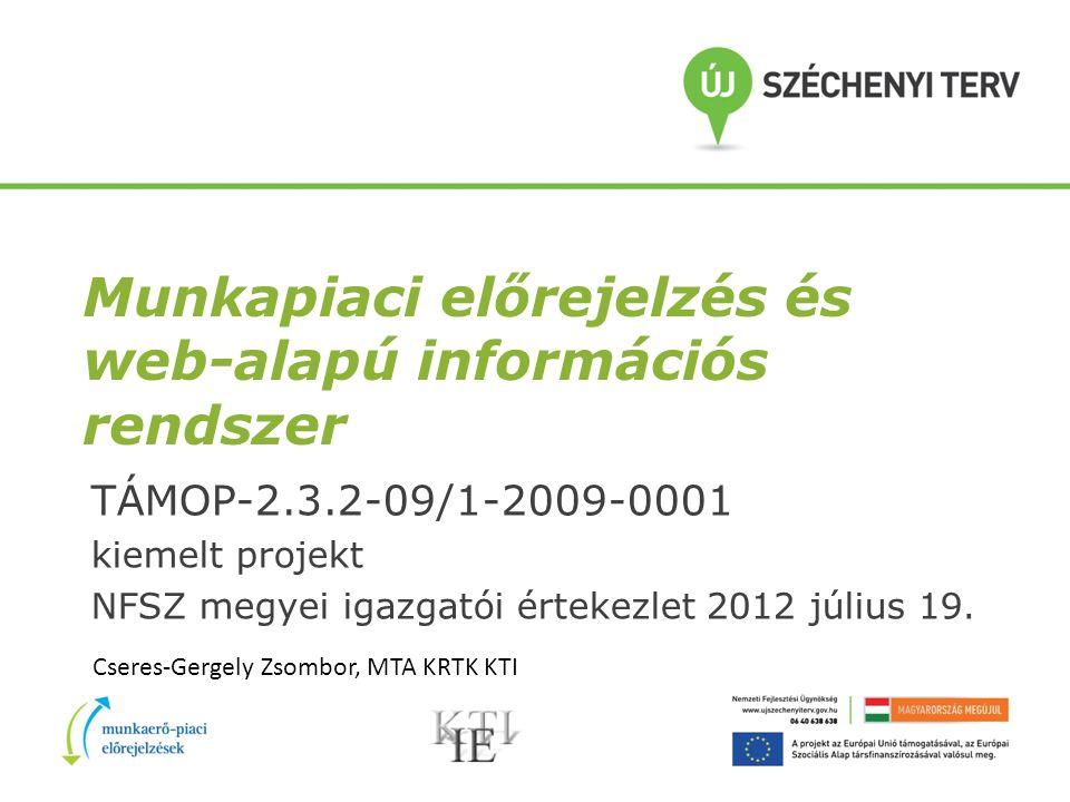 Munkapiaci előrejelzés és web-alapú információs rendszer TÁMOP-2.3.2-09/1-2009-0001 kiemelt projekt NFSZ megyei igazgatói értekezlet 2012 július 19.