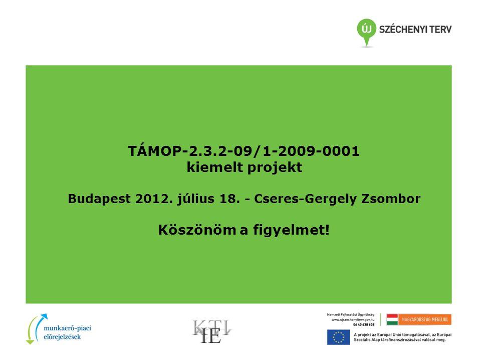 TÁMOP-2.3.2-09/1-2009-0001 kiemelt projekt Budapest 2012.
