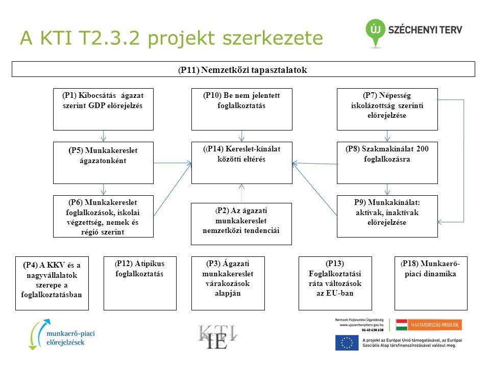A KTI T2.3.2 projekt szerkezete ( P11) Nemzetközi tapasztalatok (P7) Népesség iskolázottság szerinti előrejelzése ( P4) A KKV és a nagyvállalatok szerepe a foglalkoztatásban (P10) Be nem jelentett foglalkoztatás ( ( P14) Kereslet-kínálat közötti eltérés ( P2) Az ágazati munkakereslet nemzetközi tendenciái (P8) Szakmakínálat 200 foglalkozásra P9) Munkakínálat: aktívak, inaktívak előrejelzése (P1) Kibocsátás ágazat szerint GDP előrejelzés ( P5) Munkakereslet ágazatonként (P6) Munkakereslet foglalkozások, iskolai végzettség, nemek és régió szerint ( P12) Atipikus foglalkoztatás (P3) Ágazati munkakereslet várakozások alapján (P13) Foglalkoztatási ráta változások az EU-ban ( P18) Munkaerő- piaci dinamika
