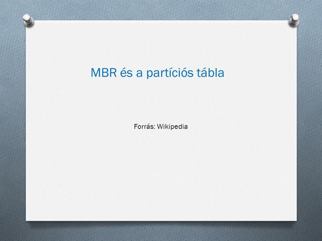 MBR és a partíciós tábla Forrás: Wikipedia
