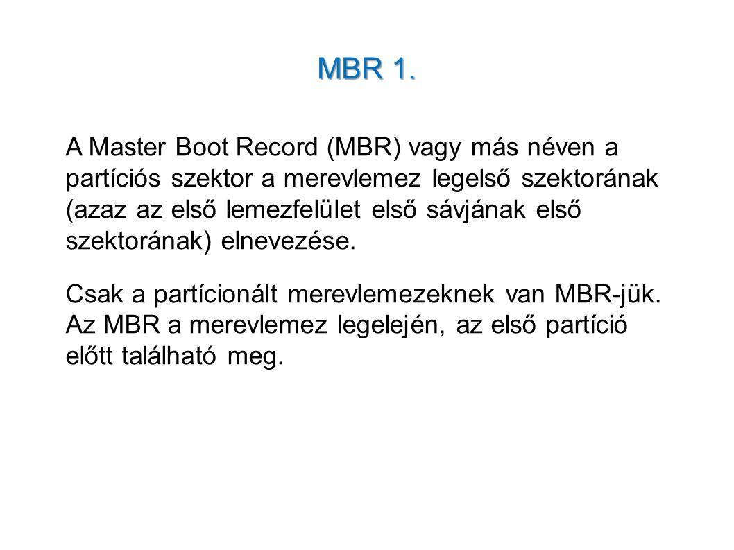 MBR 1. A Master Boot Record (MBR) vagy más néven a partíciós szektor a merevlemez legelső szektorának (azaz az első lemezfelület első sávjának első sz