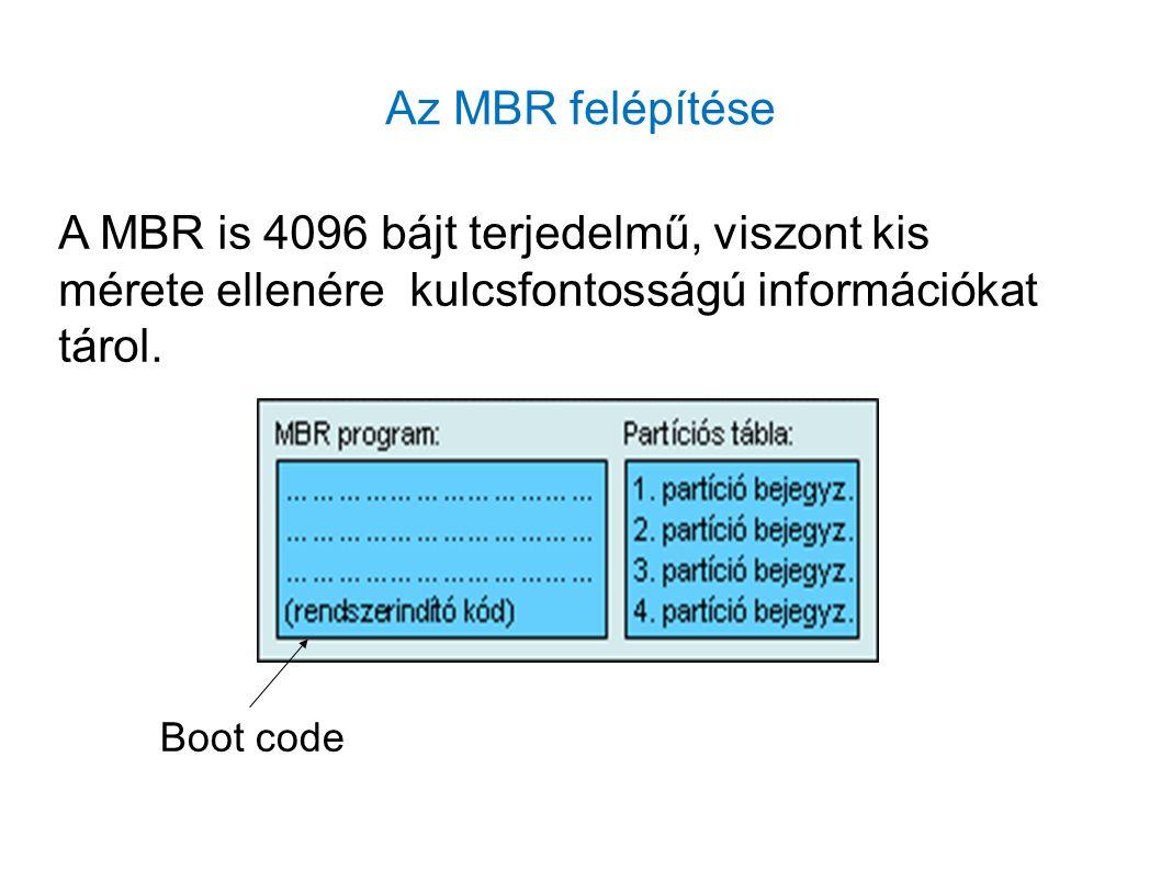 Az MBR felépítése A MBR is 4096 bájt terjedelmű, viszont kis mérete ellenére kulcsfontosságú információkat tárol. Boot code