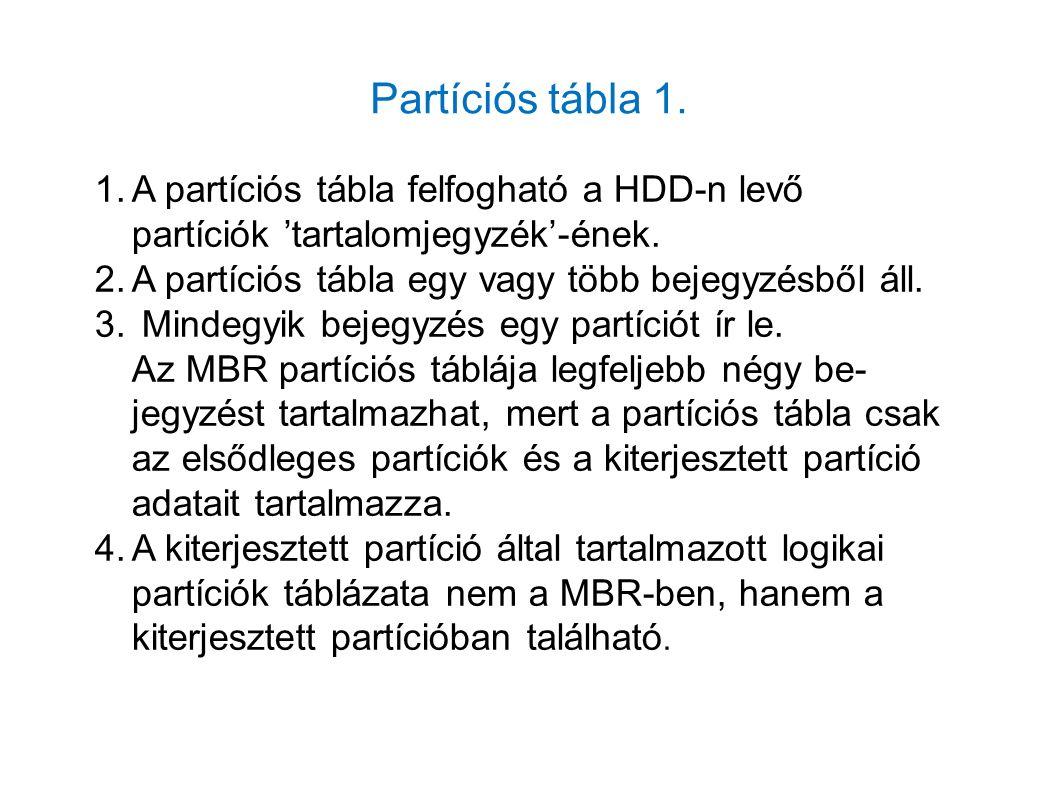 Partíciós tábla 1. 1.A partíciós tábla felfogható a HDD-n levő partíciók 'tartalomjegyzék'-ének. 2.A partíciós tábla egy vagy több bejegyzésből áll. 3