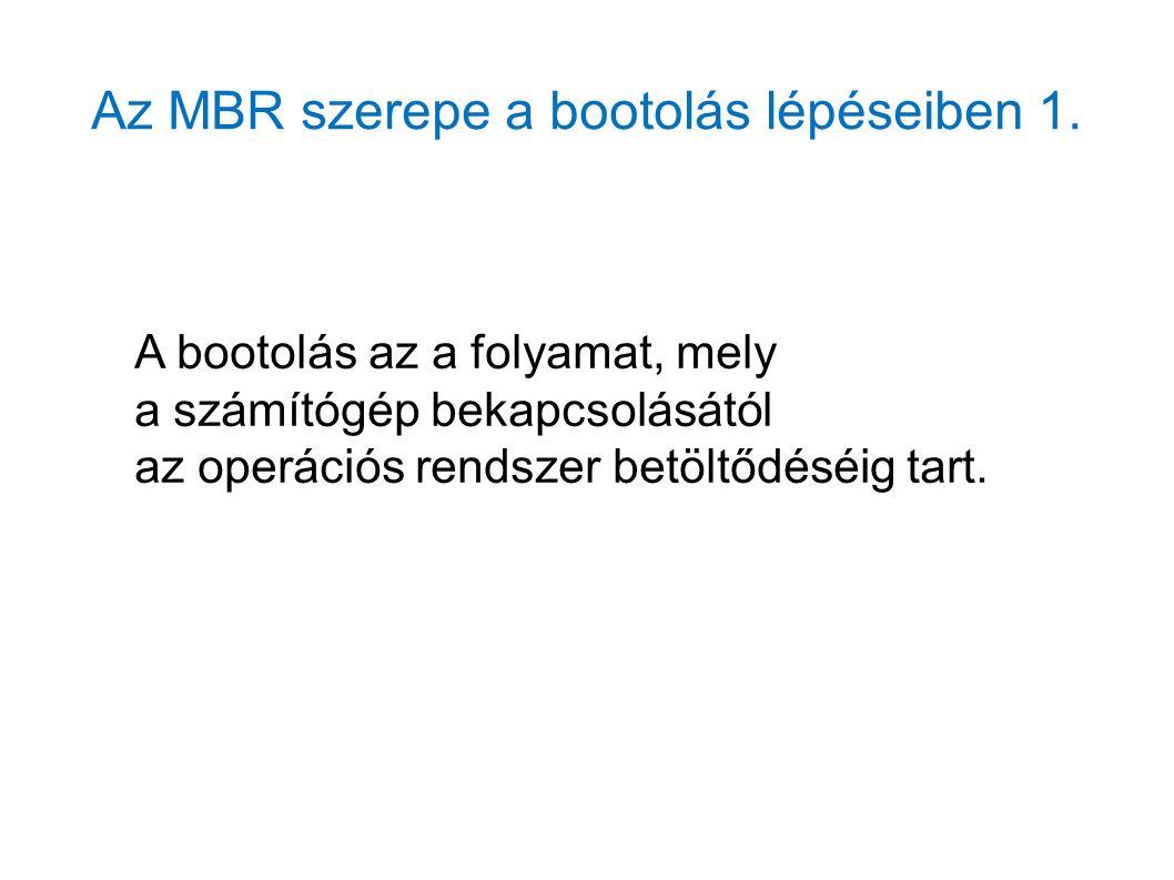 Az MBR szerepe a bootolás lépéseiben 1.