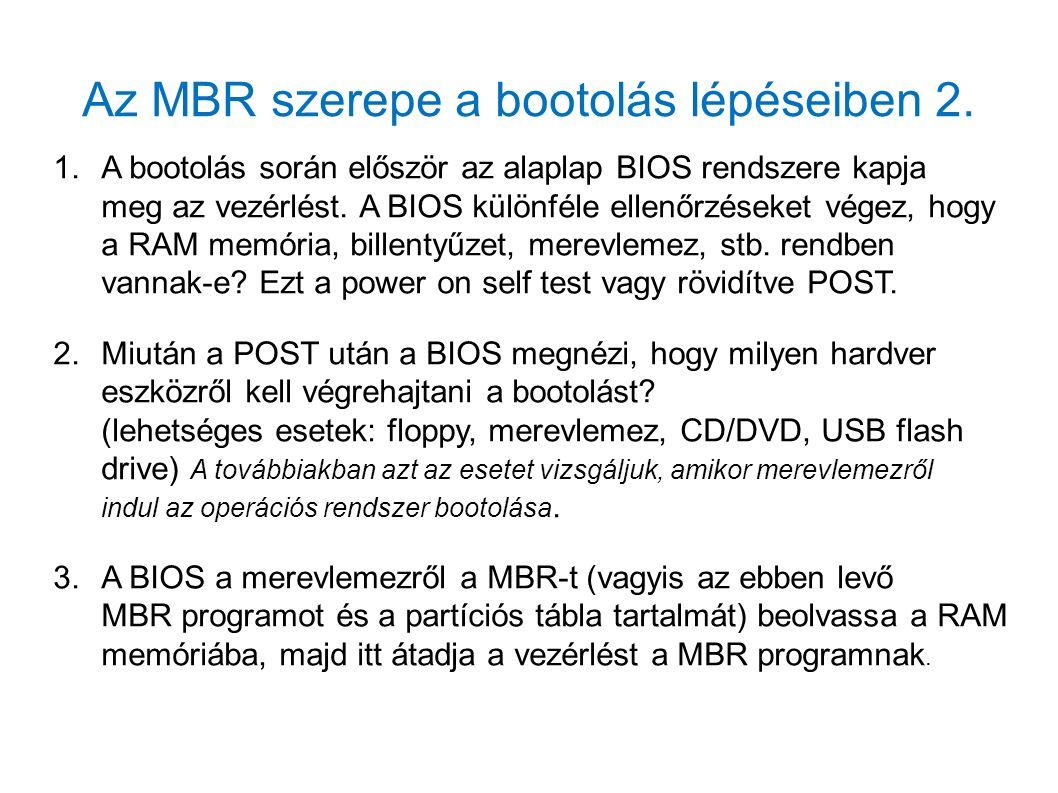 Az MBR szerepe a bootolás lépéseiben 2. 1.A bootolás során először az alaplap BIOS rendszere kapja meg az vezérlést. A BIOS különféle ellenőrzéseket v