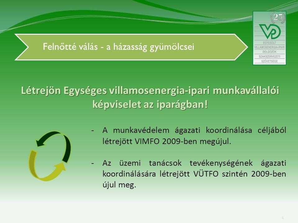 Felnőtté válás - a házasság gyümölcsei -A munkavédelem ágazati koordinálása céljából létrejött VIMFO 2009-ben megújul.