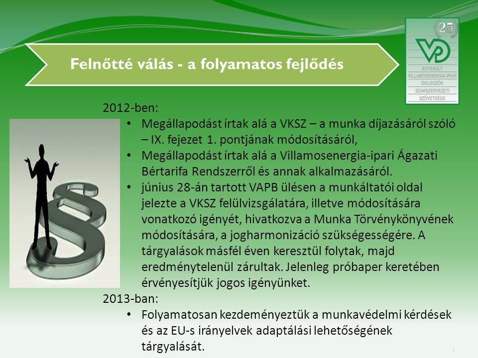 Felnőtté válás - a folyamatos fejlődés 2012-ben: Megállapodást írtak alá a VKSZ – a munka díjazásáról szóló – IX.