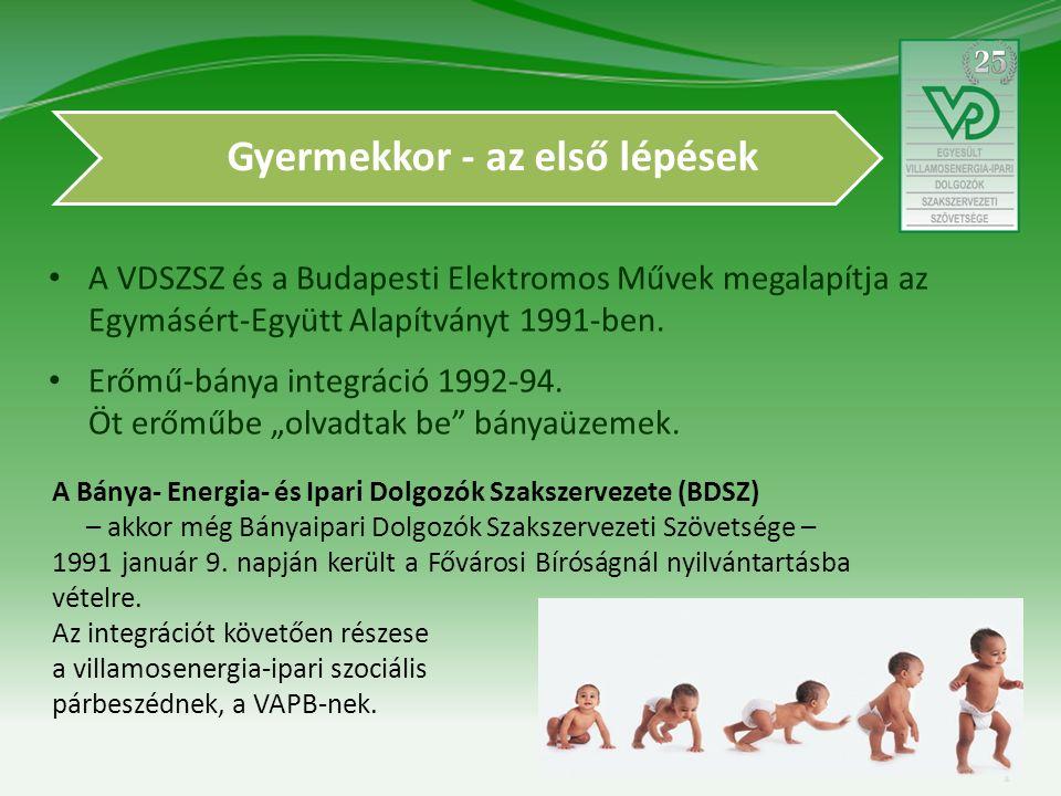 Gyermekkor - az első lépések A VDSZSZ és a Budapesti Elektromos Művek megalapítja az Egymásért-Együtt Alapítványt 1991-ben.