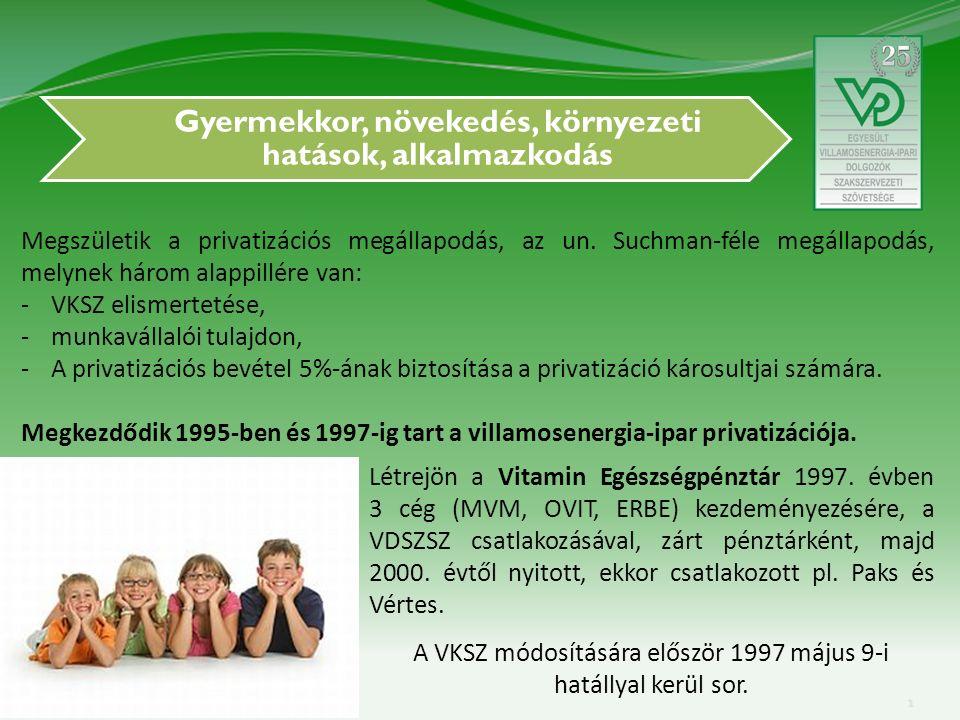 Gyermekkor, növekedés, környezeti hatások, alkalmazkodás Megszületik a privatizációs megállapodás, az un.