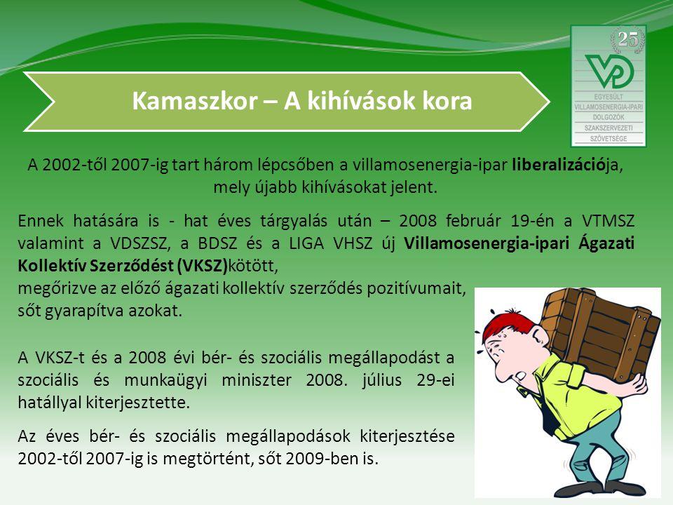 Kamaszkor – A kihívások kora A 2002-től 2007-ig tart három lépcsőben a villamosenergia-ipar liberalizációja, mely újabb kihívásokat jelent.