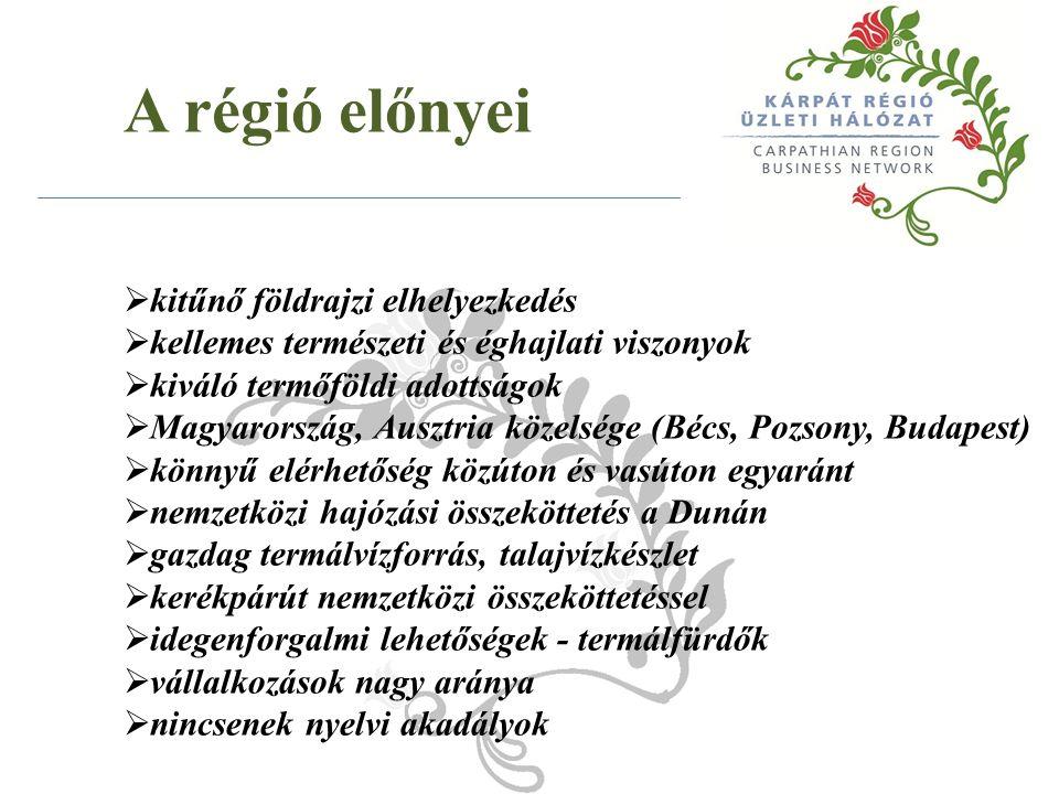 A régió előnyei  kitűnő földrajzi elhelyezkedés  kellemes természeti és éghajlati viszonyok  kiváló termőföldi adottságok  Magyarország, Ausztria közelsége (Bécs, Pozsony, Budapest)  könnyű elérhetőség közúton és vasúton egyaránt  nemzetközi hajózási összeköttetés a Dunán  gazdag termálvízforrás, talajvízkészlet  kerékpárút nemzetközi összeköttetéssel  idegenforgalmi lehetőségek - termálfürdők  vállalkozások nagy aránya  nincsenek nyelvi akadályok