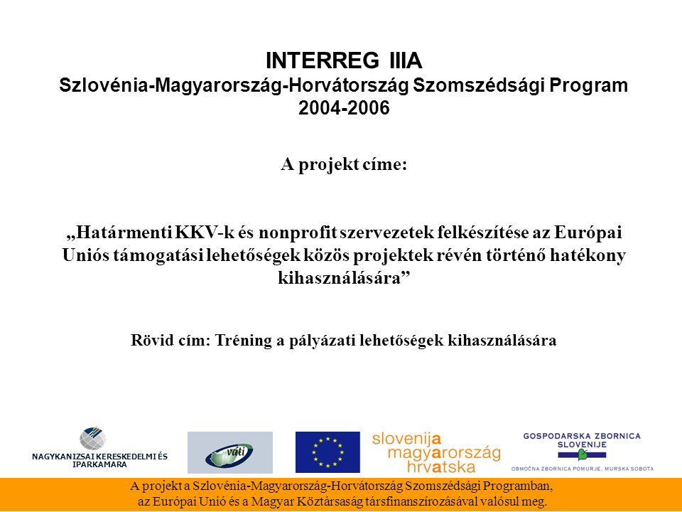 INTERREG IIIA Szlovénia-Magyarország-Horvátország Szomszédsági Program 2004-2006 A projekt a Szlovénia-Magyarország-Horvátország Szomszédsági Programban, az Európai Unió és a Magyar Köztársaság társfinanszírozásával valósul meg.