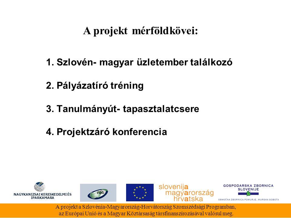 1. Szlovén- magyar üzletember találkozó 2. Pályázatíró tréning 3.