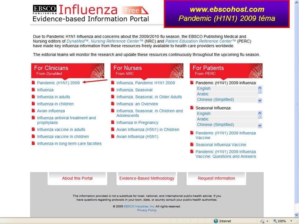 www.ebscohost.com Pandemic (H1N1) 2009 téma