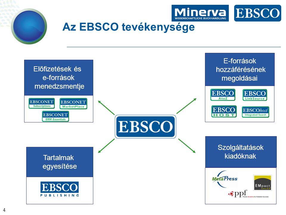 4 Az EBSCO tevékenysége Szolgáltatások kiadóknak Tartalmak egyesítése Előfizetések és e-források menedzsmentje E-források hozzáférésének megoldásai