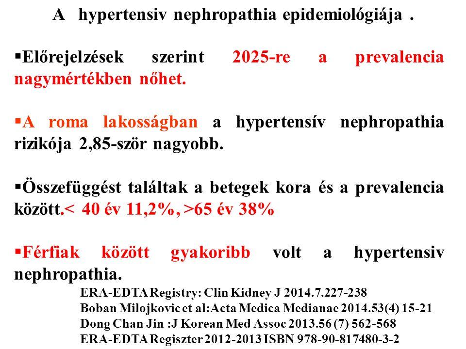  Előrejelzések szerint 2025-re a prevalencia nagymértékben nőhet.  A roma lakosságban a hypertensív nephropathia rizikója 2,85-ször nagyobb.  Össze