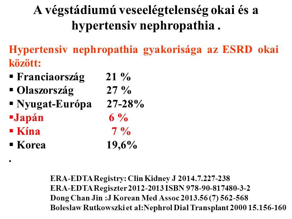 Hypertensiv nephropathia gyakorisága az ESRD okai között:  Franciaország 21 %  Olaszország 27 %  Nyugat-Európa 27-28%  Japán 6 %  Kína 7 %  Kore