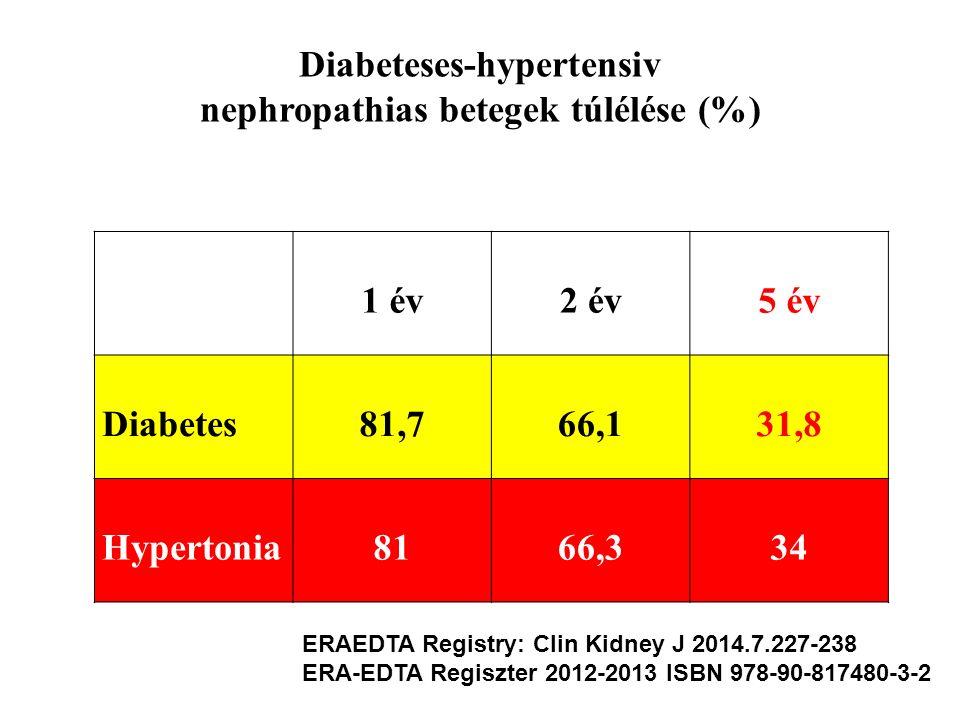 1 év2 év5 év Diabetes81,766,131,8 Hypertonia8166,334 Diabeteses-hypertensiv nephropathias betegek túlélése (%) ERAEDTA Registry: Clin Kidney J 2014.7.
