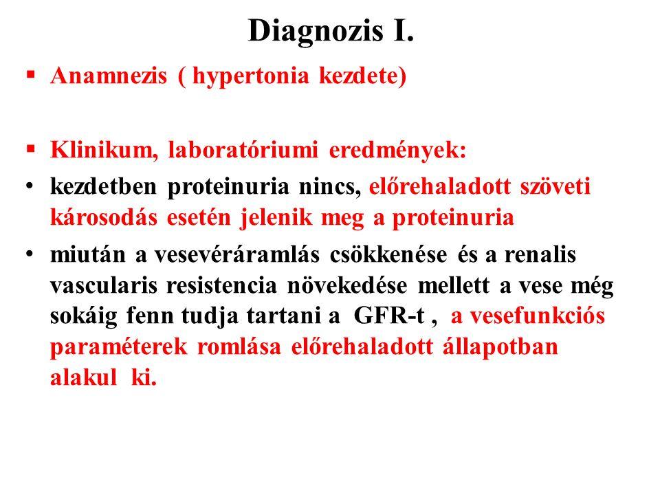 Diagnozis I.  Anamnezis ( hypertonia kezdete)  Klinikum, laboratóriumi eredmények: kezdetben proteinuria nincs, előrehaladott szöveti károsodás eset