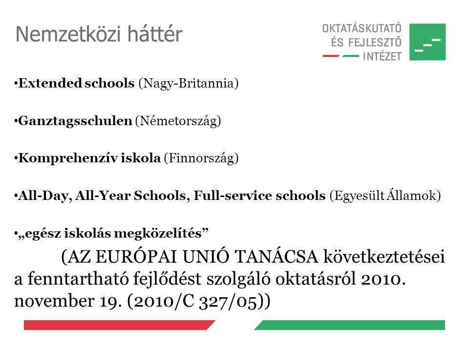 Nemzetközi háttér Extended schools (Nagy-Britannia) Ganztagsschulen (Németország) Komprehenzív iskola (Finnország) All-Day, All-Year Schools, Full-ser