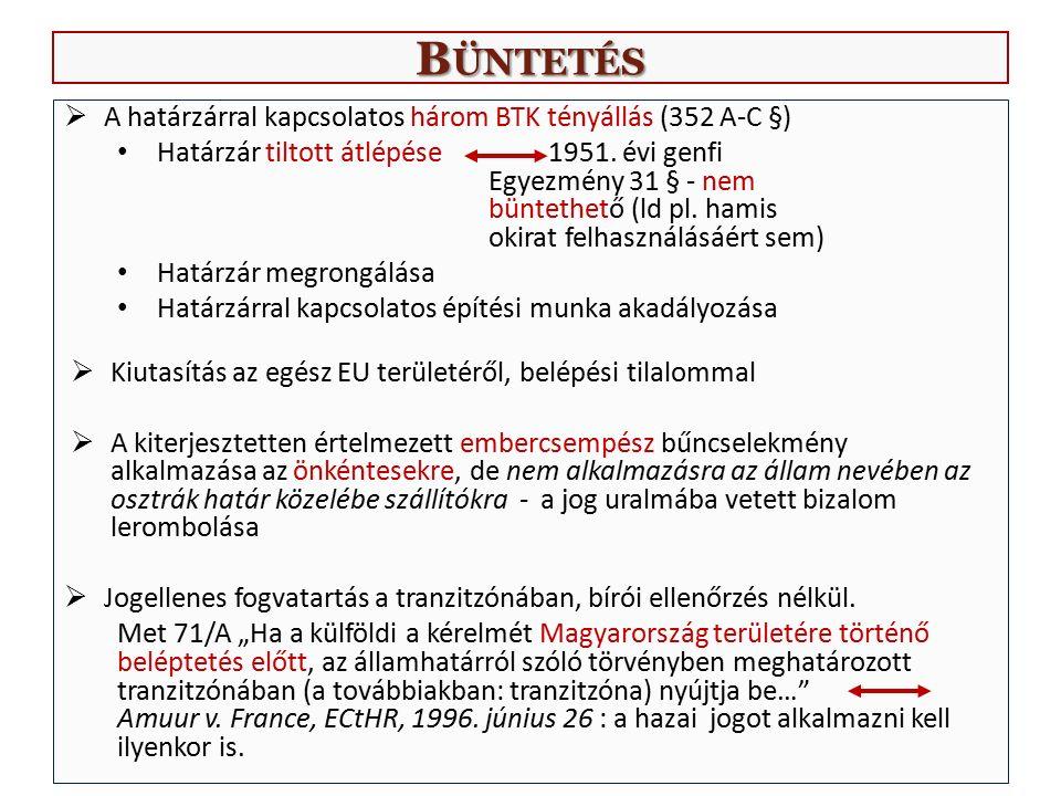 B ÜNTETÉS  A határzárral kapcsolatos három BTK tényállás (352 A-C §) Határzár tiltott átlépése 1951. évi genfi Egyezmény 31 § - nem büntethető (ld pl