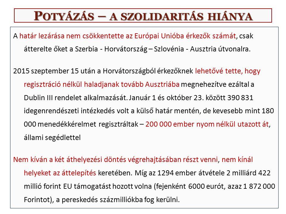 P OTYÁZÁS – A SZOLIDARITÁS HIÁNYA A határ lezárása nem csökkentette az Európai Unióba érkezők számát, csak átterelte őket a Szerbia - Horvátország – Szlovénia - Ausztria útvonalra.