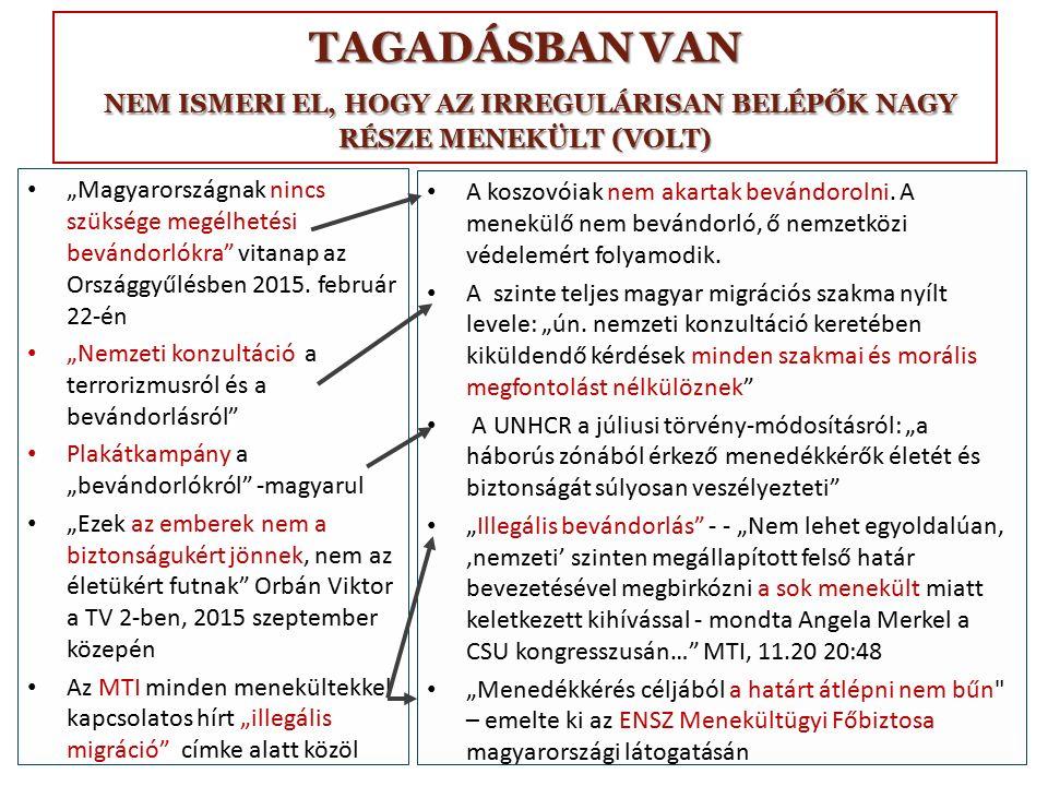 """TAGADÁSBAN VAN NEM ISMERI EL, HOGY AZ IRREGULÁRISAN BELÉPŐK NAGY RÉSZE MENEKÜLT (VOLT) """"Magyarországnak nincs szüksége megélhetési bevándorlókra vitanap az Országgyűlésben 2015."""