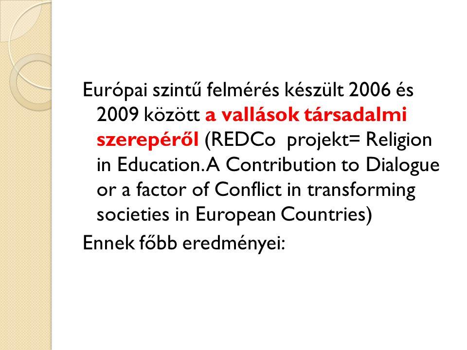 Európai szintű felmérés készült 2006 és 2009 között a vallások társadalmi szerepéről (REDCo projekt= Religion in Education.