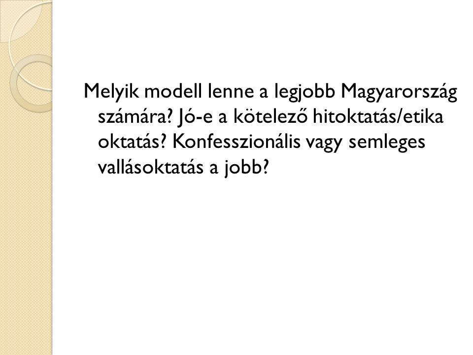 Melyik modell lenne a legjobb Magyarország számára? Jó-e a kötelező hitoktatás/etika oktatás? Konfesszionális vagy semleges vallásoktatás a jobb?