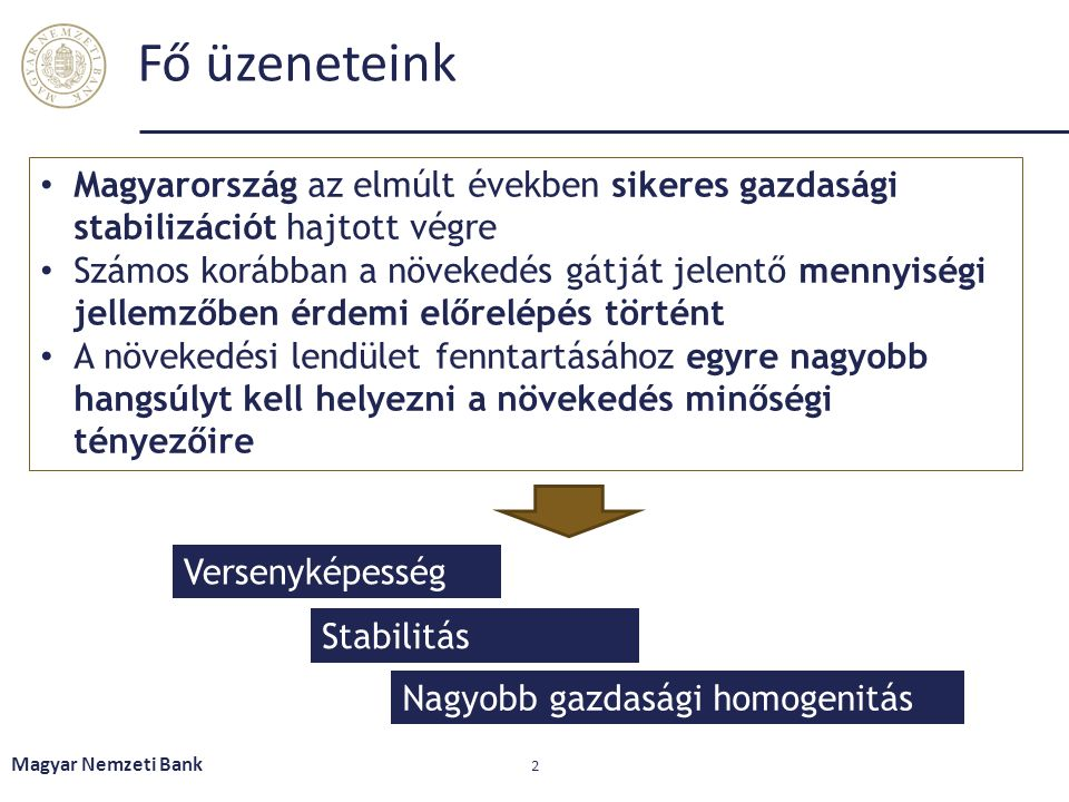 Fő üzeneteink Magyar Nemzeti Bank 2 Versenyképesség Stabilitás Nagyobb gazdasági homogenitás Magyarország az elmúlt években sikeres gazdasági stabiliz