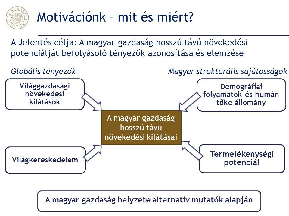 Motivációnk – mit és miért? Világgazdasági növekedési kilátások Demográfiai folyamatok és humán tőke állomány Világkereskedelem Termelékenységi potenc