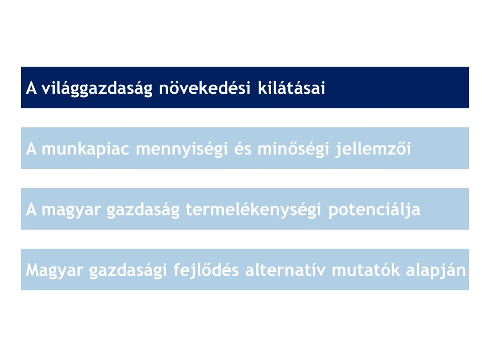 A világgazdaság növekedési kilátásai A munkapiac mennyiségi és minőségi jellemzői A magyar gazdaság termelékenységi potenciálja Magyar gazdasági fejlő