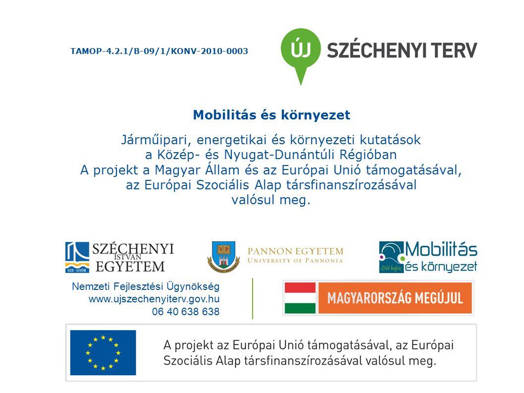 Nemzeti Fejlesztési Ügynökség www.ujszechenyiterv.gov.hu 06 40 638 638 Mobilitás és környezet Járműipari, energetikai és környezeti kutatások a Közép- és Nyugat-Dunántúli Régióban A projekt a Magyar Állam és az Európai Unió támogatásával, az Európai Szociális Alap társfinanszírozásával valósul meg.
