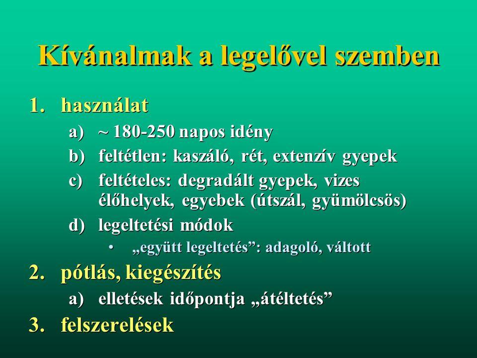 """Kívánalmak a legelővel szemben 1.használat a)~ 180-250 napos idény b)feltétlen: kaszáló, rét, extenzív gyepek c)feltételes: degradált gyepek, vizes élőhelyek, egyebek (útszál, gyümölcsös) d)legeltetési módok """"együtt legeltetés : adagoló, váltott 2.pótlás, kiegészítés a)elletések időpontja """"átéltetés 3.felszerelések 1.használat a)~ 180-250 napos idény b)feltétlen: kaszáló, rét, extenzív gyepek c)feltételes: degradált gyepek, vizes élőhelyek, egyebek (útszál, gyümölcsös) d)legeltetési módok """"együtt legeltetés : adagoló, váltott 2.pótlás, kiegészítés a)elletések időpontja """"átéltetés 3.felszerelések"""