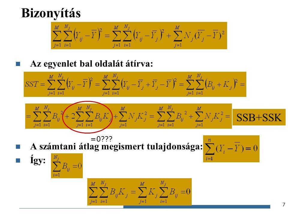 Gazdaságstatisztika, 2015 Bizonyítás Az egyenlet bal oldalát átírva: A számtani átlag megismert tulajdonsága: Így: 7 SSB+SSK =0
