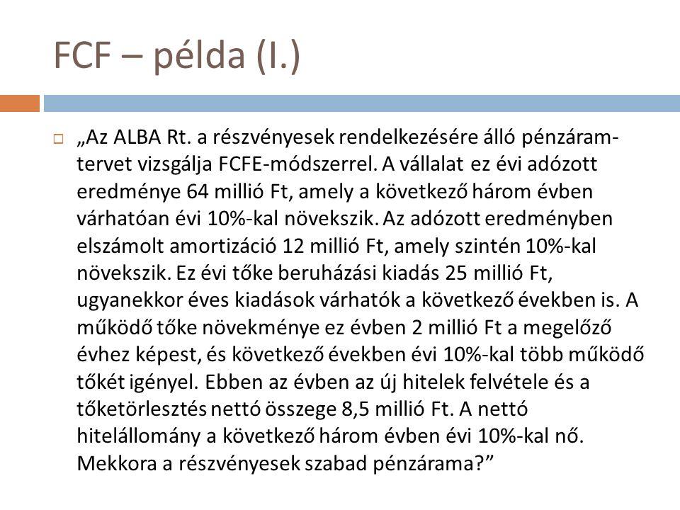 """FCF – példa (I.)  """"Az ALBA Rt. a részvényesek rendelkezésére álló pénzáram- tervet vizsgálja FCFE-módszerrel. A vállalat ez évi adózott eredménye 64"""