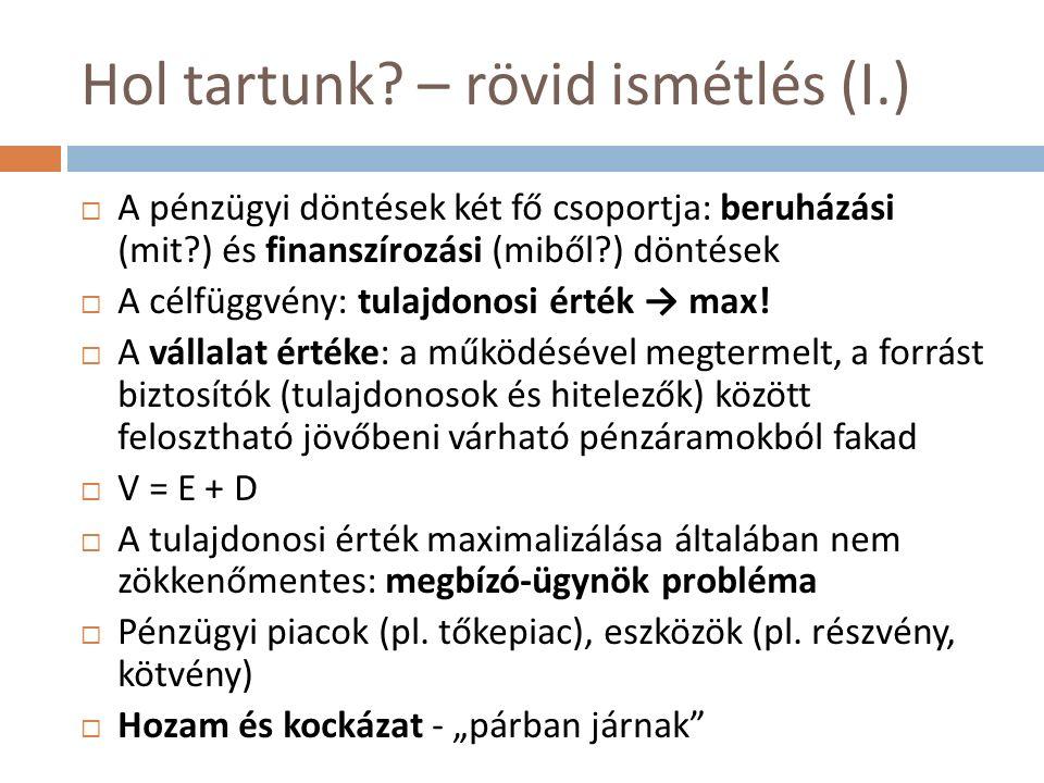 Hol tartunk? – rövid ismétlés (I.)  A pénzügyi döntések két fő csoportja: beruházási (mit?) és finanszírozási (miből?) döntések  A célfüggvény: tula