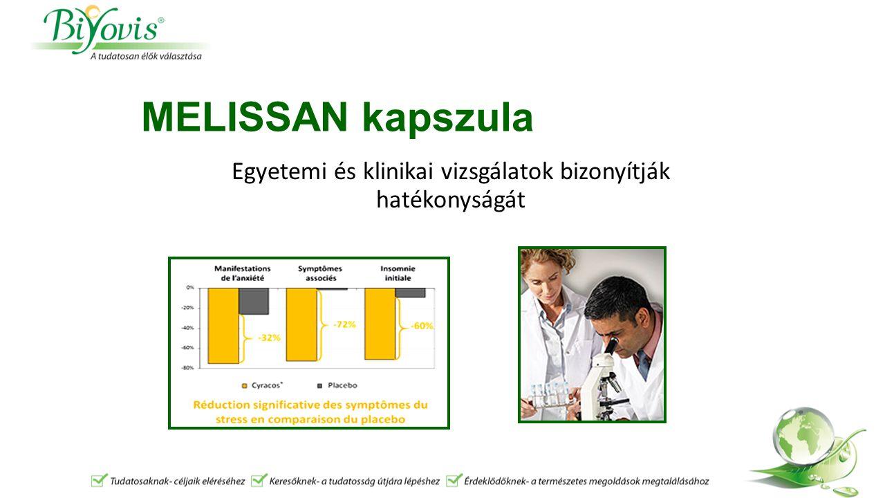 MELISSAN kapszula Egyetemi és klinikai vizsgálatok bizonyítják hatékonyságát