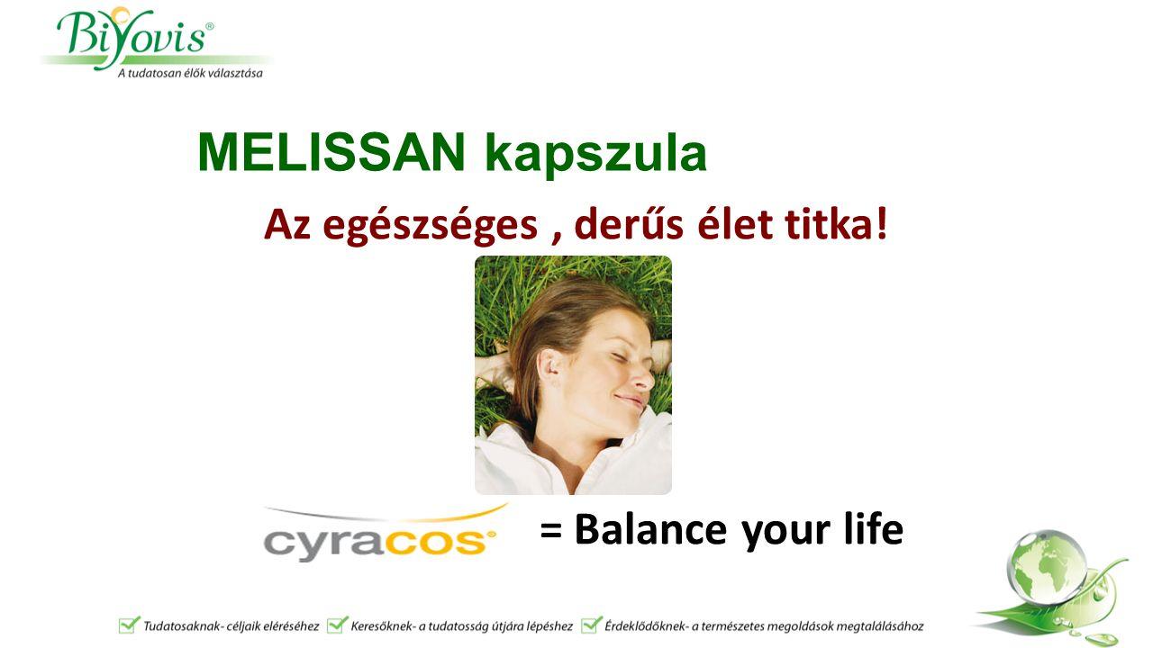 MELISSAN kapszula Az egészséges, derűs élet titka! = Balance your life