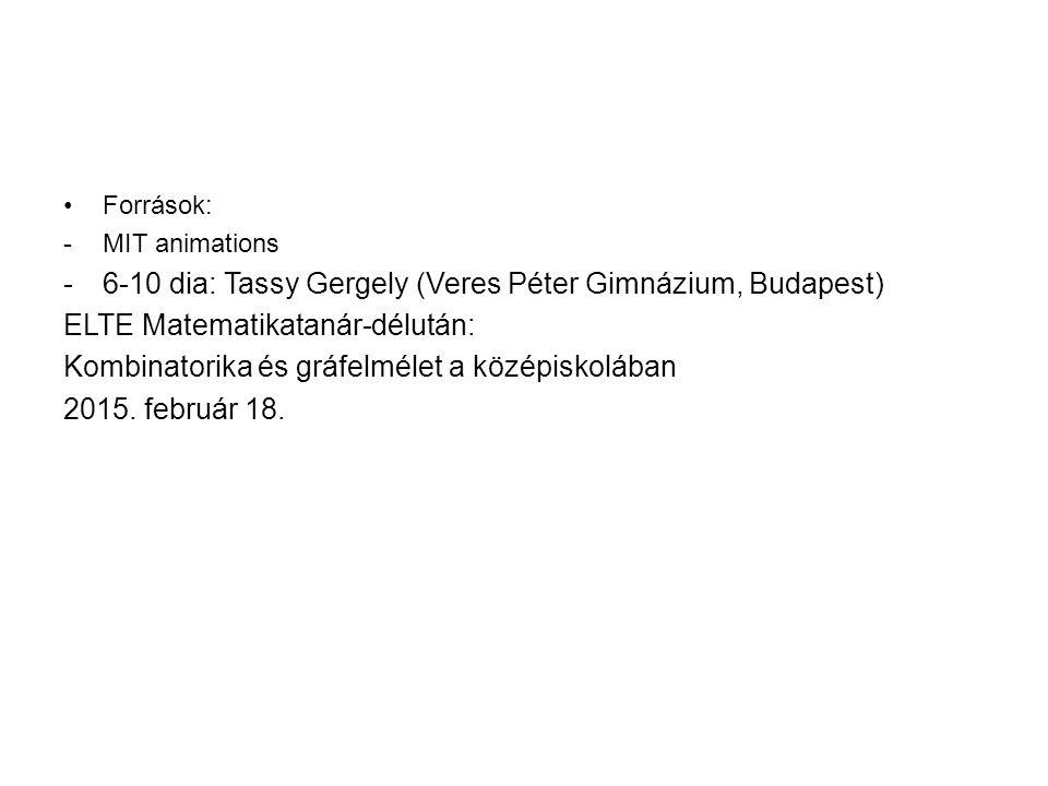 Források: -MIT animations -6-10 dia: Tassy Gergely (Veres Péter Gimnázium, Budapest) ELTE Matematikatanár-délután: Kombinatorika és gráfelmélet a középiskolában 2015.