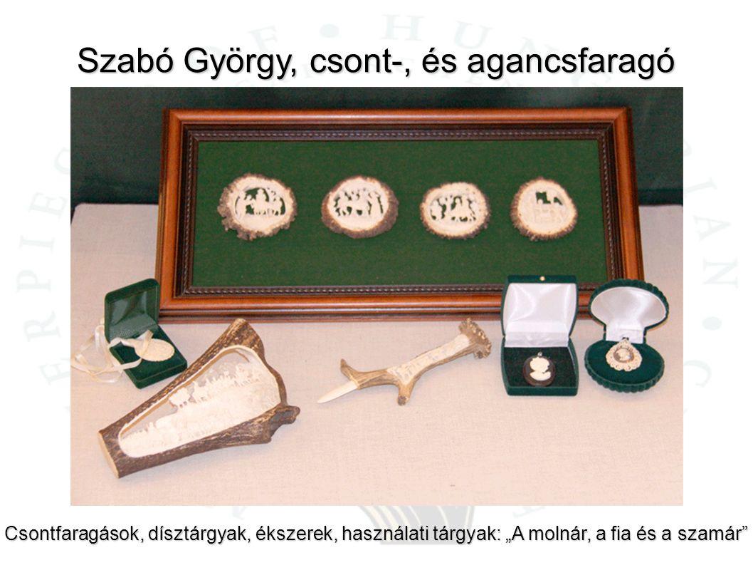 """Szabó György, csont-, és agancsfaragó Csontfaragások, dísztárgyak, ékszerek, használati tárgyak: """"A molnár, a fia és a szamár"""""""