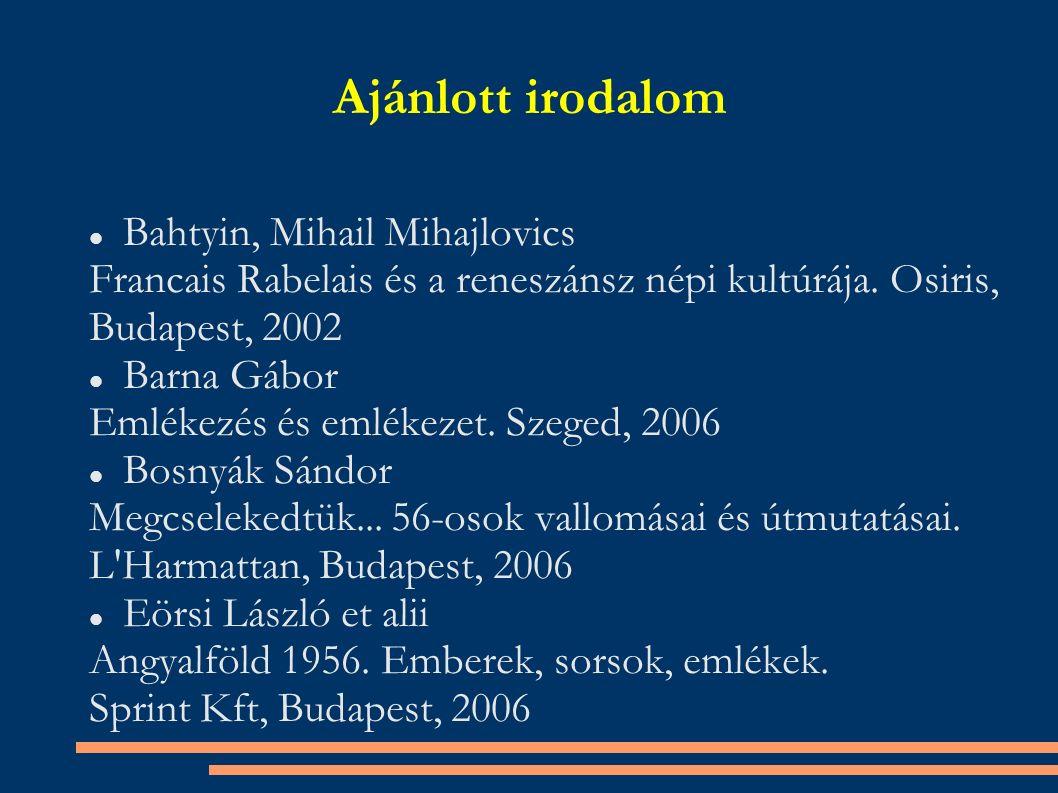 Ajánlott irodalom Bahtyin, Mihail Mihajlovics Francais Rabelais és a reneszánsz népi kultúrája.