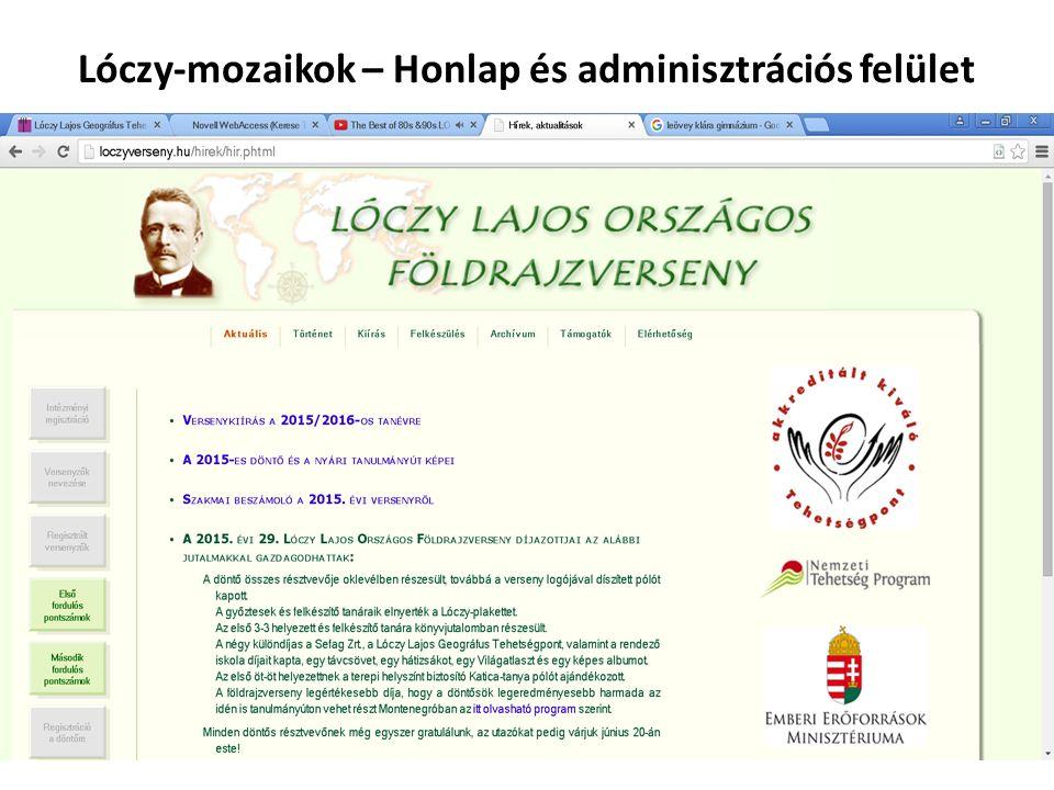 Lóczy-mozaikok – Honlap és adminisztrációs felület