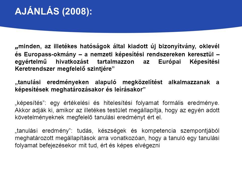 """AJÁNLÁS (2008): """" minden, az illetékes hatóságok által kiadott új bizonyítvány, oklevél és Europass-okmány – a nemzeti képesítési rendszereken keresztül – egyértelmű hivatkozást tartalmazzon az Európai Képesítési Keretrendszer megfelelő szintjére """"tanulási eredményeken alapuló megközelítést alkalmazzanak a képesítések meghatározásakor és leírásakor """"képesítés : egy értékelési és hitelesítési folyamat formális eredménye."""
