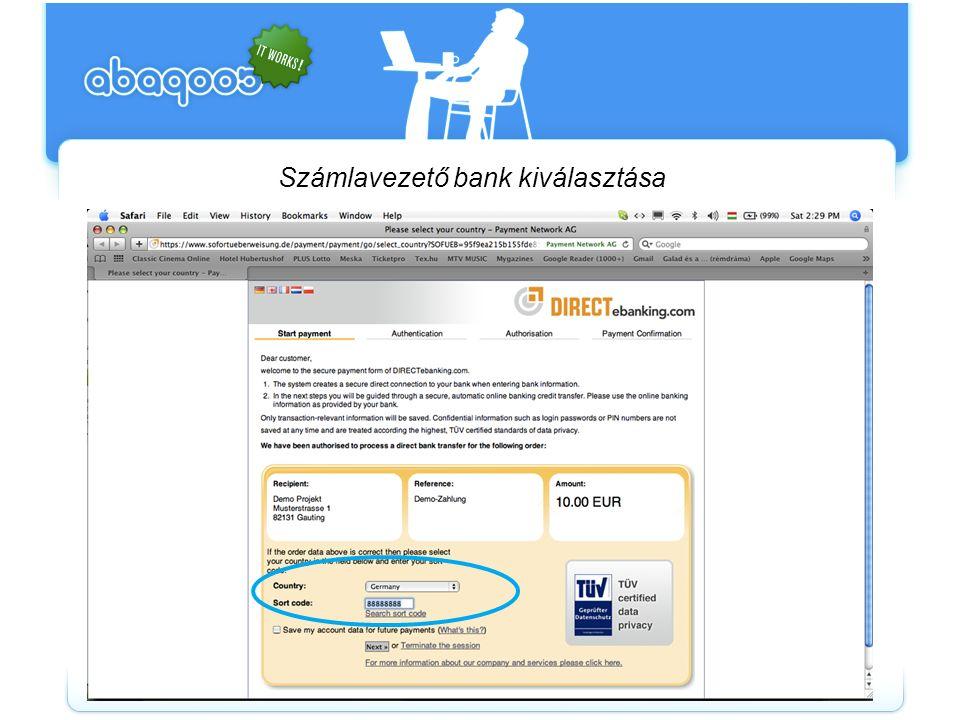 Számlavezető bank kiválasztása