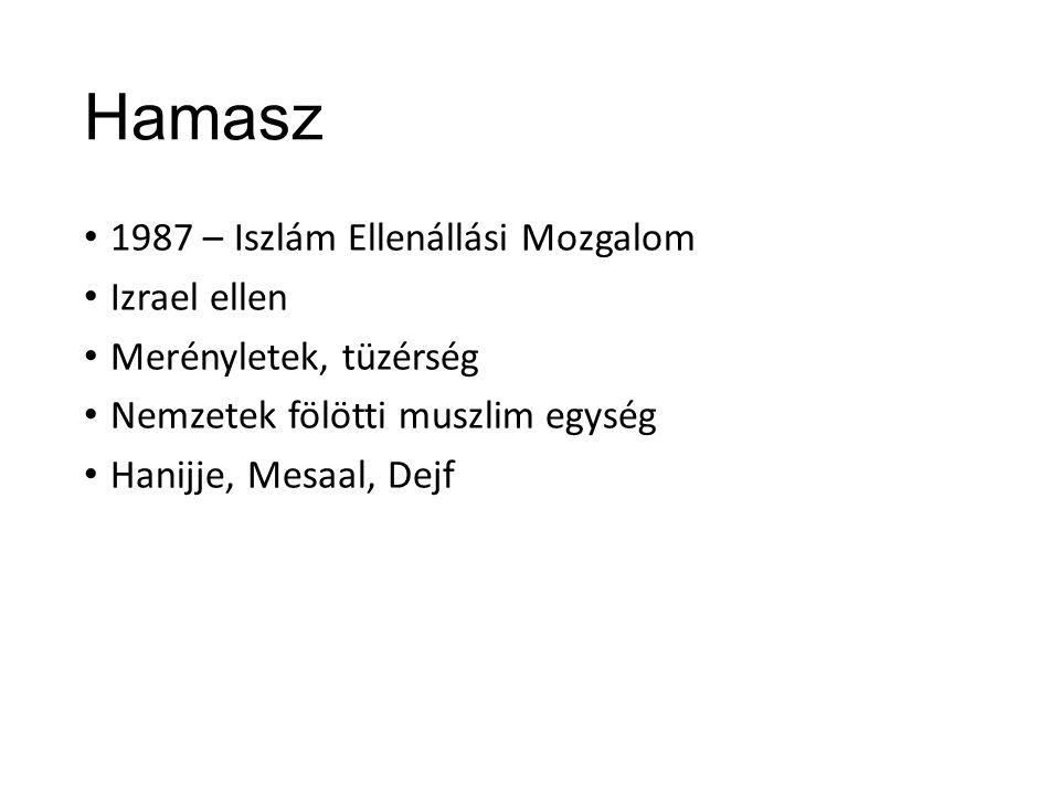Hamasz 1987 – Iszlám Ellenállási Mozgalom Izrael ellen Merényletek, tüzérség Nemzetek fölötti muszlim egység Hanijje, Mesaal, Dejf