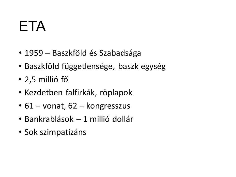 ETA 1959 – Baszkföld és Szabadsága Baszkföld függetlensége, baszk egység 2,5 millió fő Kezdetben falfirkák, röplapok 61 – vonat, 62 – kongresszus Bankrablások – 1 millió dollár Sok szimpatizáns