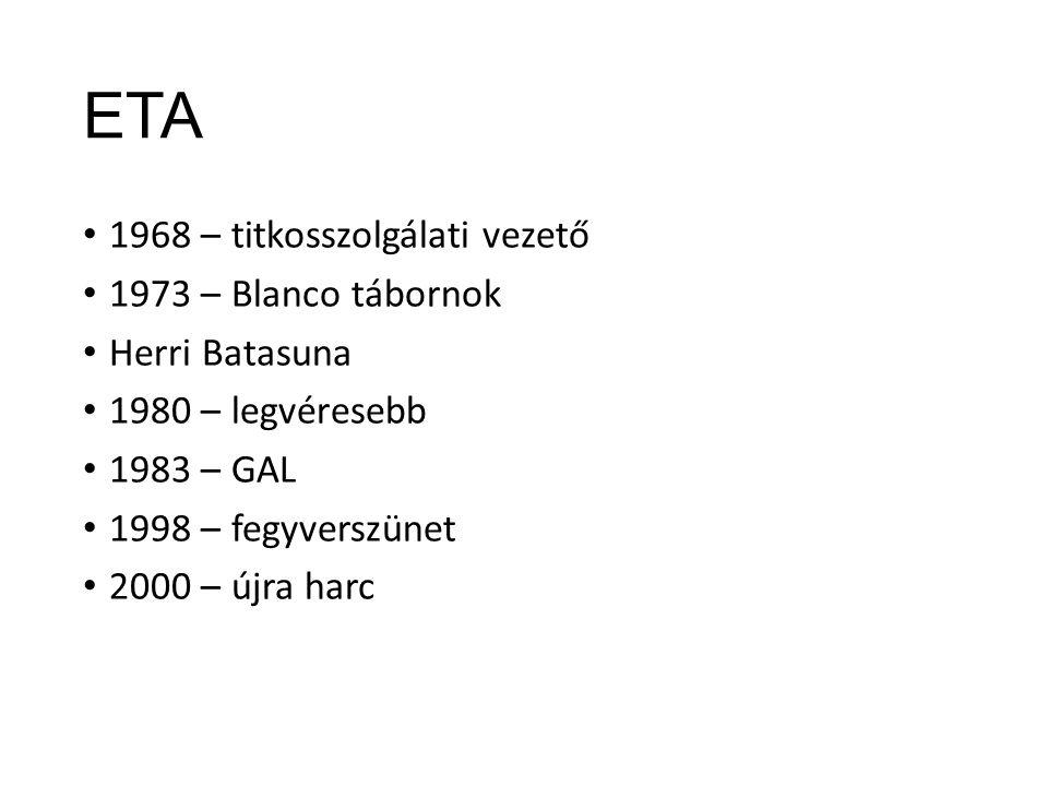 ETA 1968 – titkosszolgálati vezető 1973 – Blanco tábornok Herri Batasuna 1980 – legvéresebb 1983 – GAL 1998 – fegyverszünet 2000 – újra harc