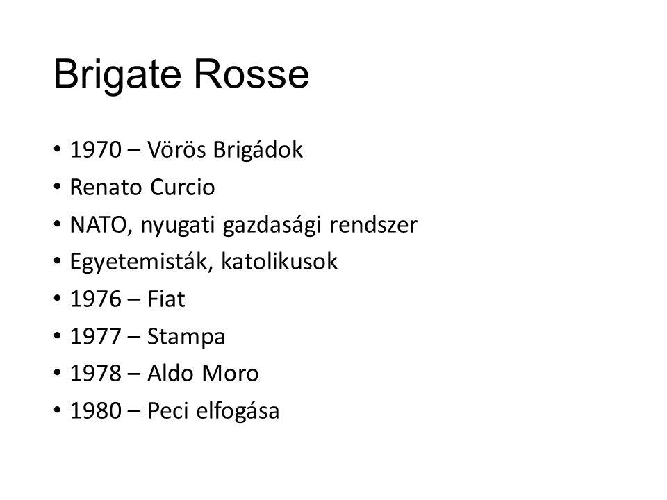 Brigate Rosse 1970 – Vörös Brigádok Renato Curcio NATO, nyugati gazdasági rendszer Egyetemisták, katolikusok 1976 – Fiat 1977 – Stampa 1978 – Aldo Moro 1980 – Peci elfogása